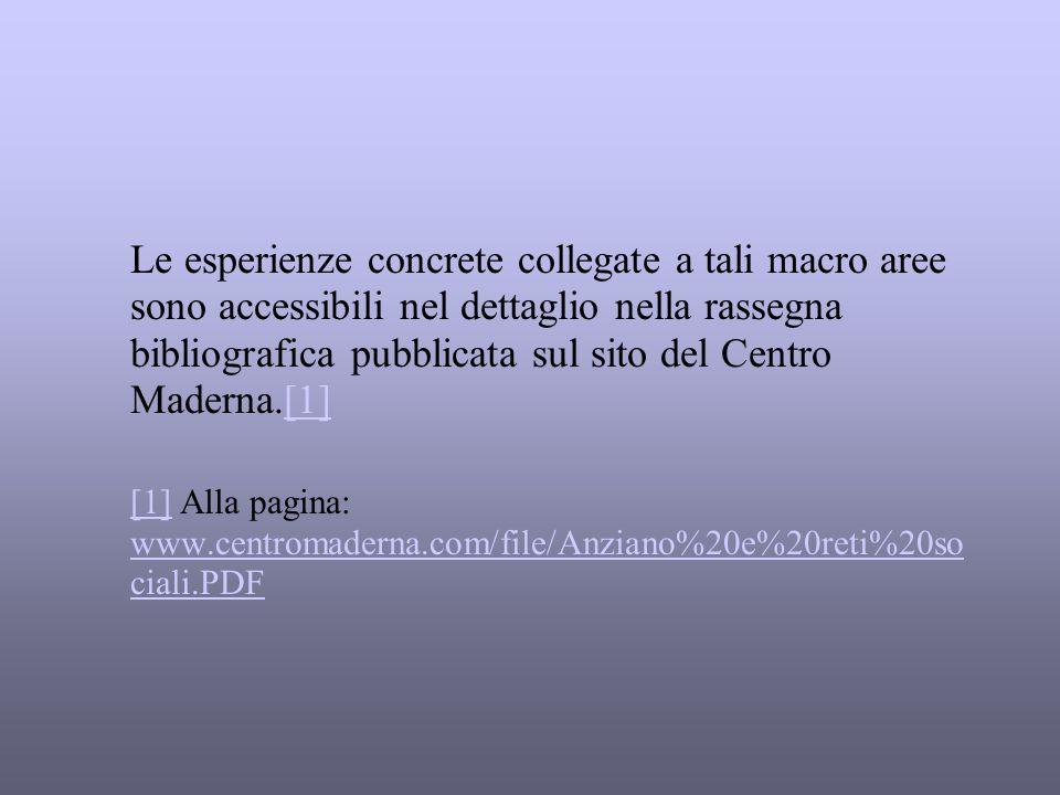 Le esperienze concrete collegate a tali macro aree sono accessibili nel dettaglio nella rassegna bibliografica pubblicata sul sito del Centro Maderna.[1]